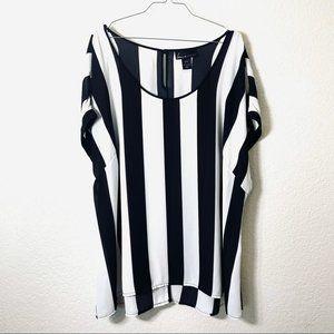 Lane Bryant Black and White Vertical Striped Short Sleeve Blouse